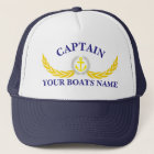 Personalised boat name anchor motif captains trucker hat