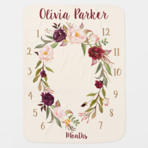 Personalised Boho Floral Monthly Baby Blanket Gift