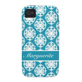 Personalised Bondi Blue with White Damask Case-Mate iPhone 4 Cases