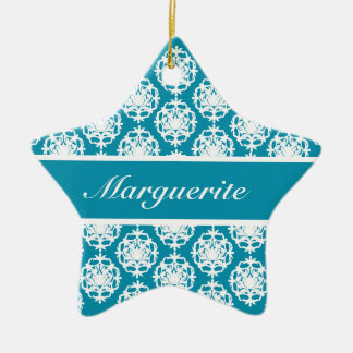 Personalised Bondi Blue with White Damask Christmas Ornament