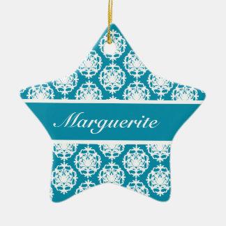 Personalised Bondi Blue with White Damask Christmas Ornament