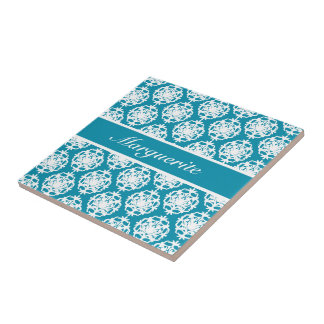 Personalised Bondi Blue with White Damask Small Square Tile