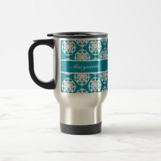 Personalised Bondi Blue with White Damask Travel Mug