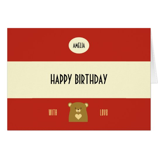 Personalised Boo Bear - Cranberry Red Card