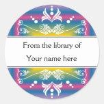 Personalised Bookplates - Colourful Flourishes Round Sticker