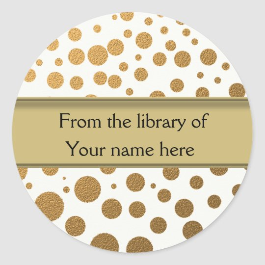 Personalised Bookplates   Gold Glitter Dots Classic Round