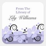 Personalised Bookplates -  Purple Flowers Square Sticker