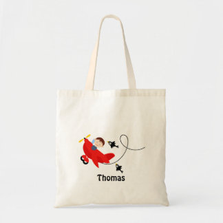 Personalised Boy And Plane Tote Bag