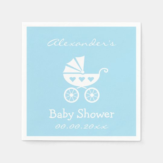 Personalised boy baby shower napkins with carriage paper
