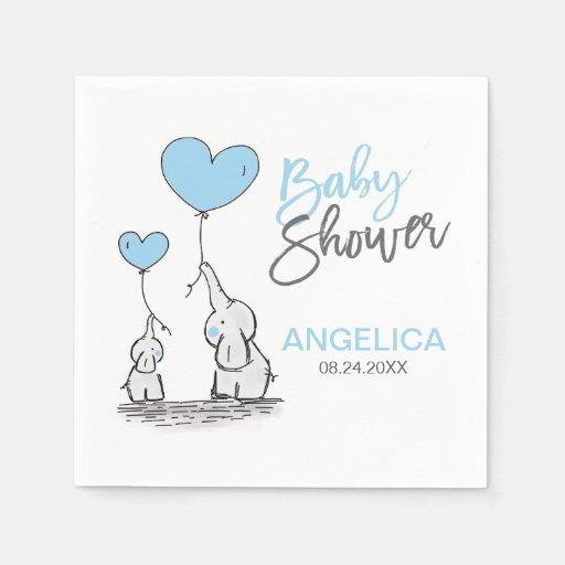 Personalised BOY Blue Elephant Mum & Baby Shower Disposable