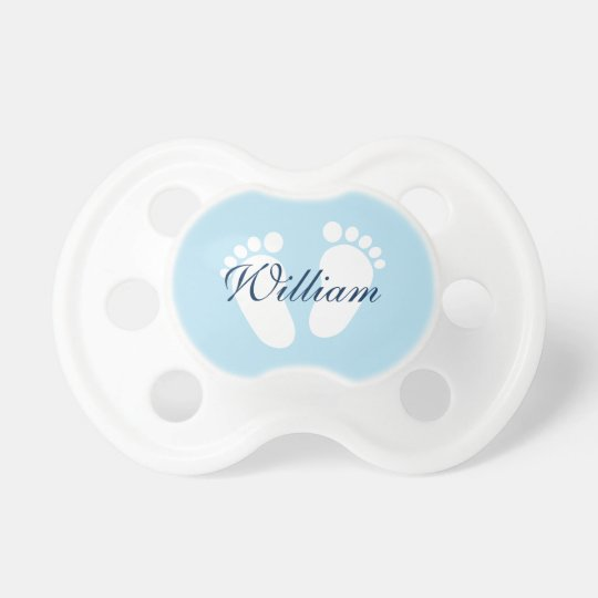 Personalised boy pacifier with baby footprints