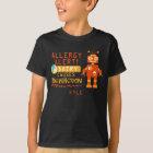 Personalised Boys Orange Robot Dairy Allergy Alert T-Shirt