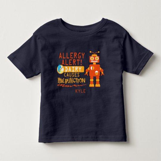 Personalised Boys Orange Robot Dairy Allergy Alert Toddler