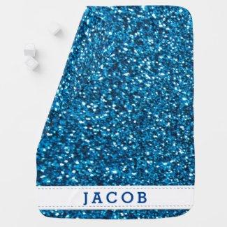 Personalised Boys Trendy Glitter Baby Blanket