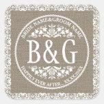Personalised Bride&Groom Burlap&Lace