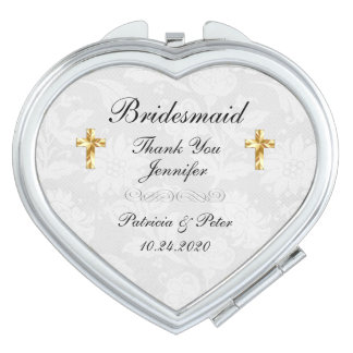 Personalised Bridesmaid Cross Mirror For Makeup