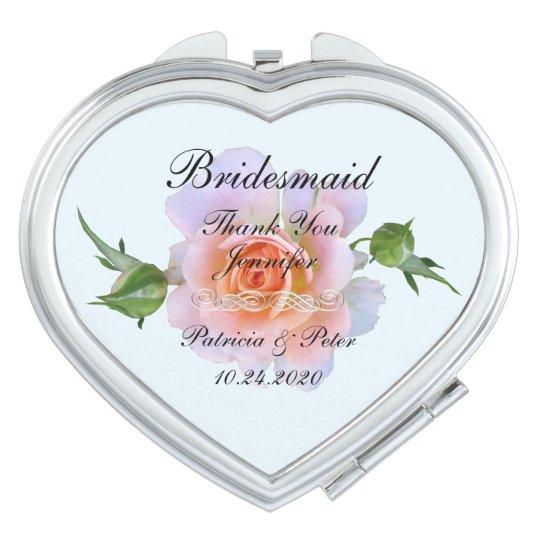 Personalised Bridesmaid Floral Travel Mirror