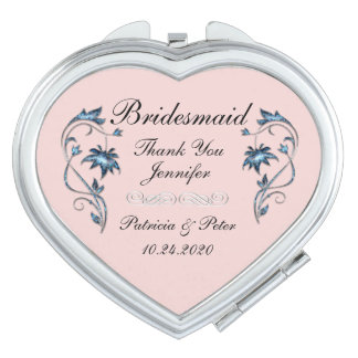 Personalised Bridesmaid Floral Travel Mirrors