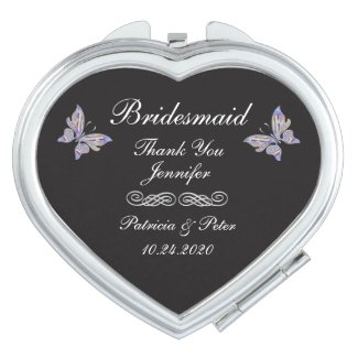 Personalised Bridesmaid Heart Compact Mirror
