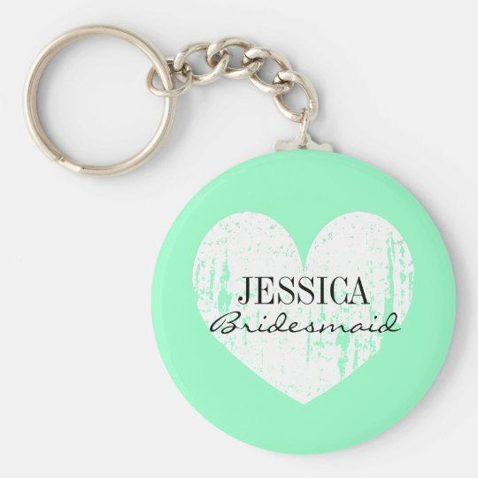 Personalised bridesmaid mint green heart keychain