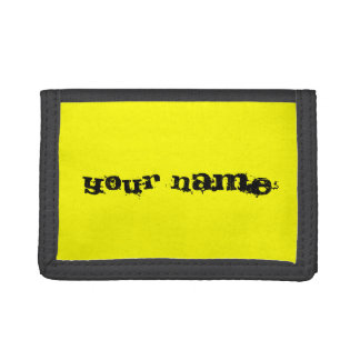 Personalised Bright Fluorescent Neon Yellow Trifold Wallets