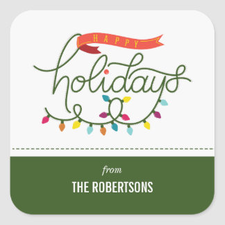 Personalised Bright Holidays Christmas Square Sticker