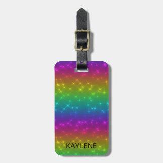 Personalised Bright Rainbow Sparkles Luggage Tag