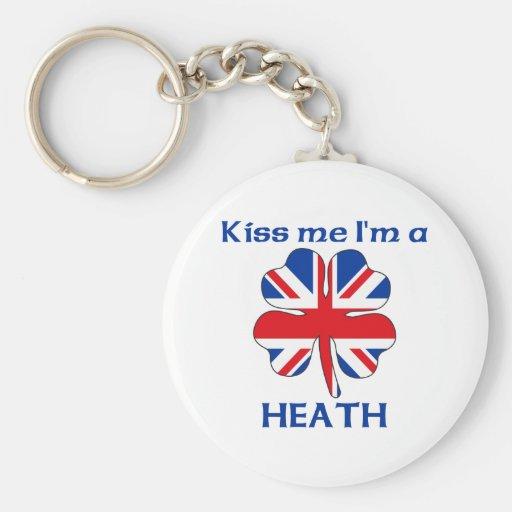 Personalised British Kiss Me I'm Heath Basic Round Button Key Ring