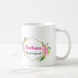 Personalised Briudesmaid Floral Coffee Mug