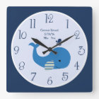 Personalised Brody Whale Nautical Wall Clock