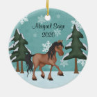 Personalised Brown Horse Snowy Holiday Christmas Christmas Ornament