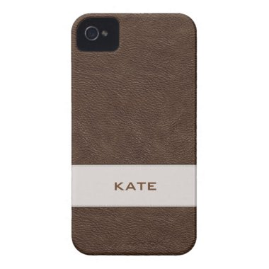 Personalised Brown Leather Barely There™ iPhone 4  casemate cases