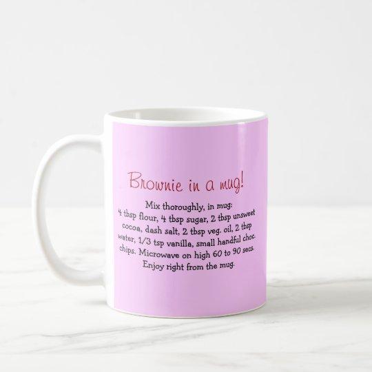 Personalised brownie-in-a-mug gift mug with recipe