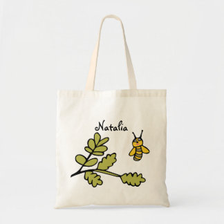 "Personalised Budget Tote ""Bee and Leaves"" Budget Tote Bag"