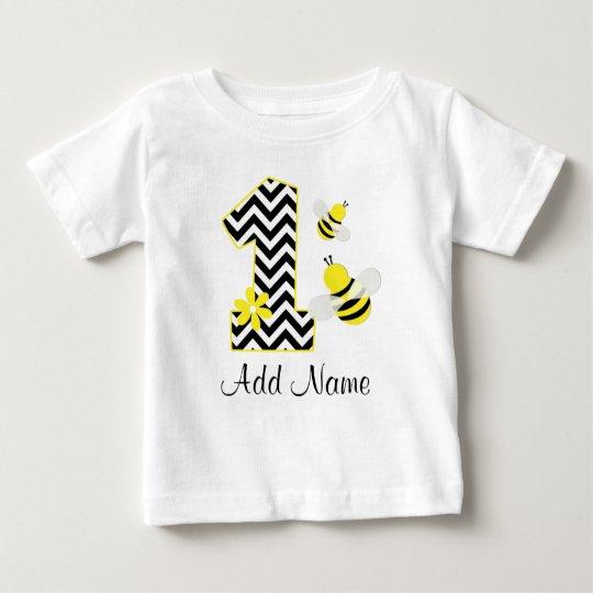 Personalised Bumble Bee 1st Birthday Chevron Baby T-Shirt