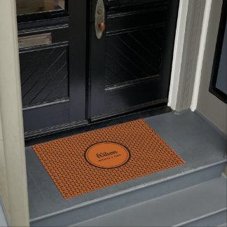 Personalised burnt orange and black weave look doormat