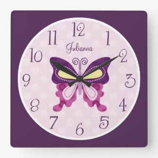 Personalised Butterfly Lane Nursery Clock