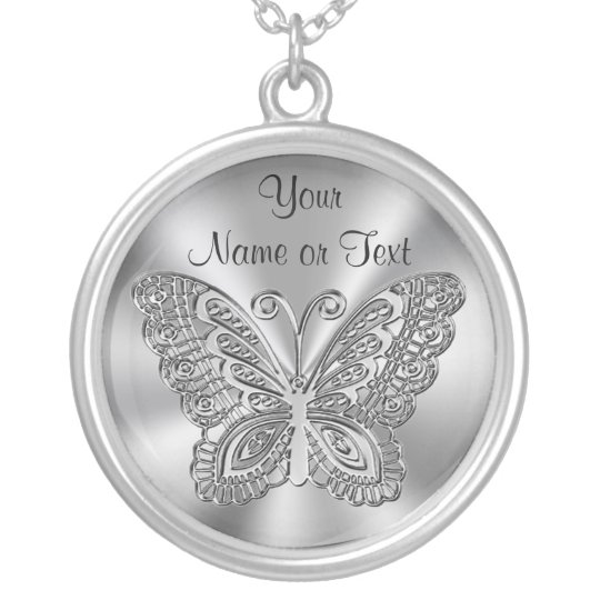 Personalised Butterfly Necklace Silver for Her
