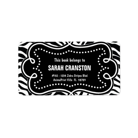 Personalised BW Zebra Stripes Pattern Bookplate Address Label