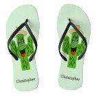 Personalised Cactus Design Flip Flops