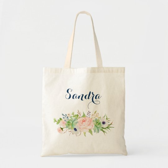 Personalised Cactus Succulent Floral Tote Bag