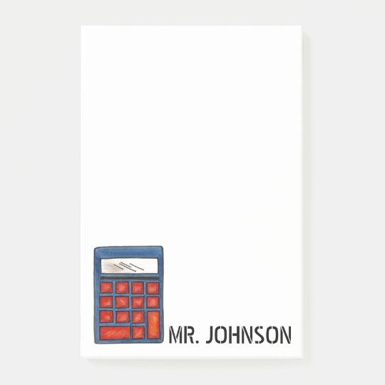 Personalised Calculator Math Teacher Gift Post-It Post-it Notes