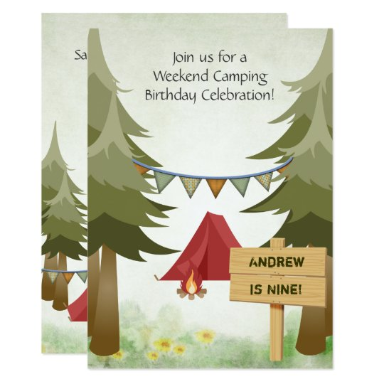 Personalised Camping Birthday Party Invitation