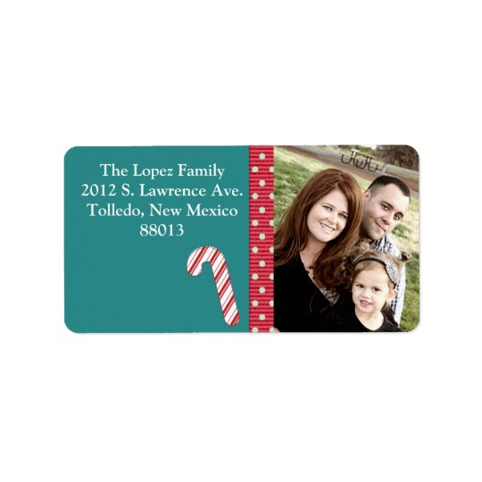 Personalised Candy Cane Stripes on T Mailing Label