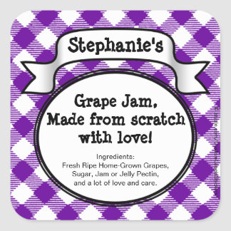 Personalised Canning Grape Jelly/Jam Jar Label