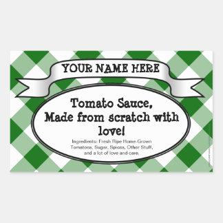Personalised Canning Jar Label, Green Gingham Jam Rectangular Sticker