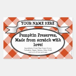Personalised Canning Jar Label, Orange Gingham Rectangular Sticker