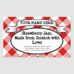 Personalised Canning Jar Label, Red Gingham Jelly Rectangle Sticker