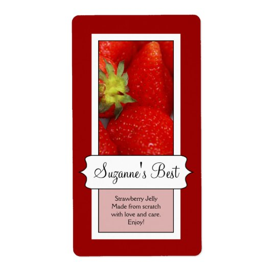 Personalised Canning Jar Label, Strawberry Shipping Label