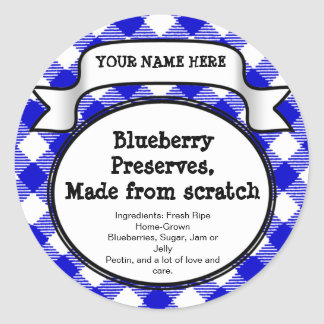 Personalised Canning Jar/Lid Label, Blue Gingham Classic Round Sticker